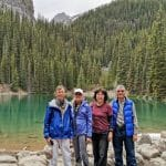 June 2019 Mirror Lake at Lake Louise with John and Swallow Wei